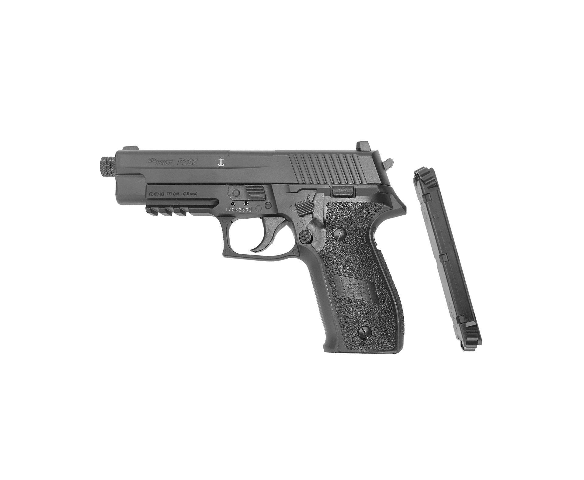 Pistola Pressão Sig Sauer P226 Co2 Full Metal Chumbinho 4,5mm 16 Tiros (8+8) Blowback
