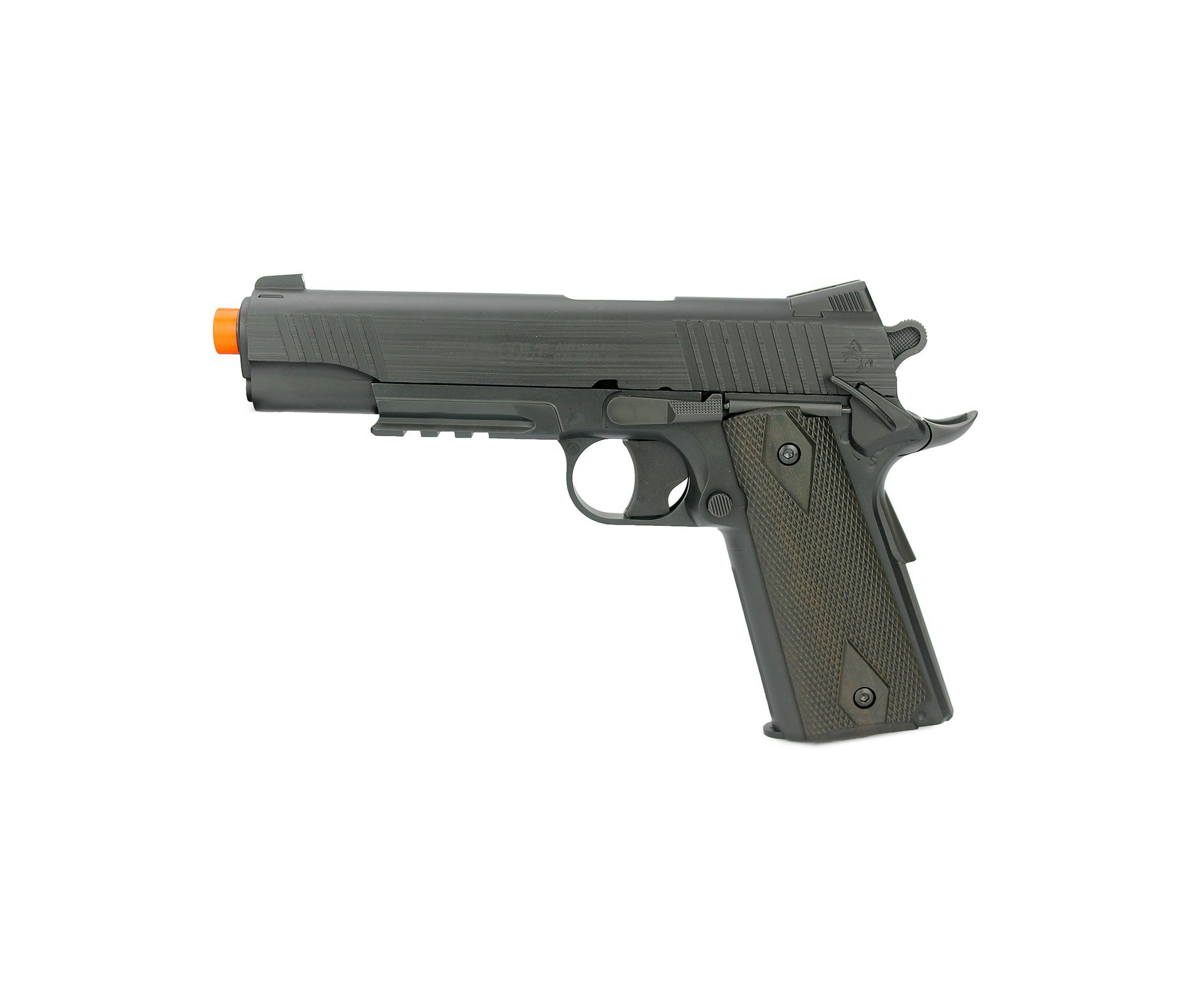 Pistola De Airsoft Gas Co2 Colt 1911 Rail Gun Slide Metal Preta Cal 6mm