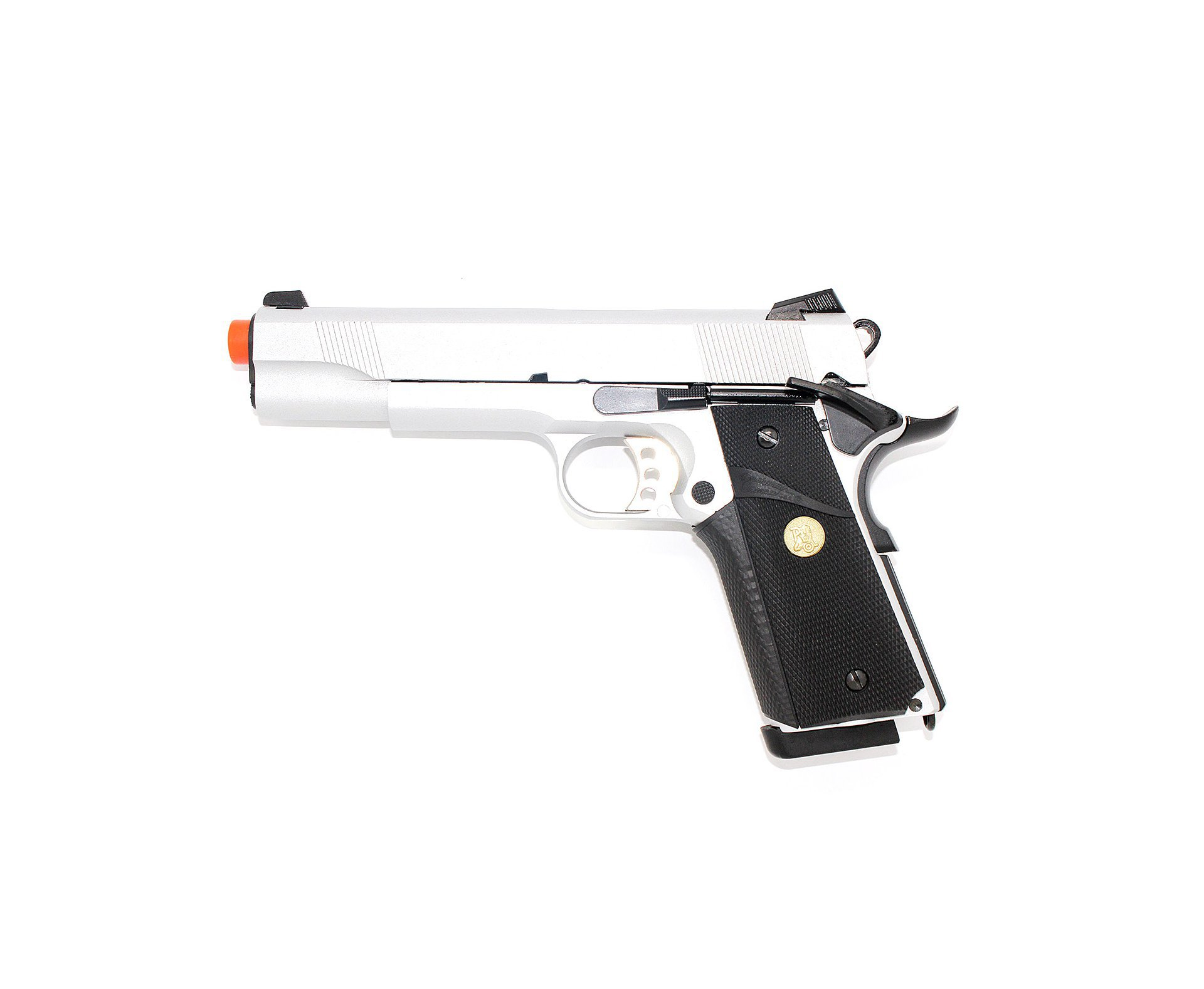 Pistola De Airsoft Gbb M1911 Inox Double Bell 728y Blowback 6.0mm + Case