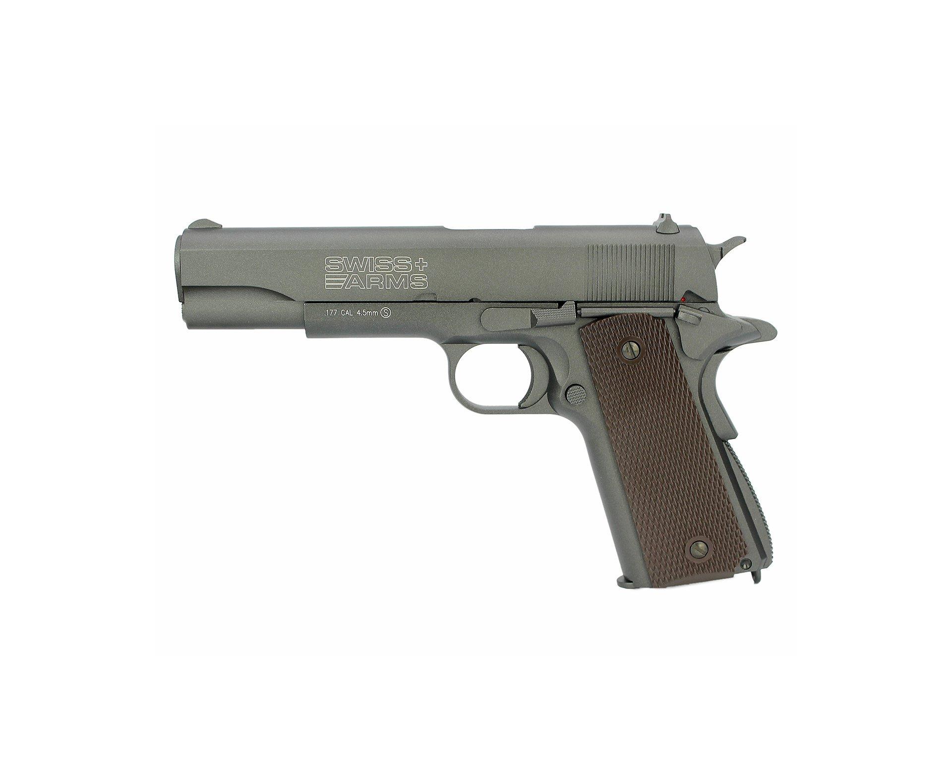 Pistola De Pressão Gas Co2 Sa P1911 Full Metal Blowblack 4.5mm Swiss Arms