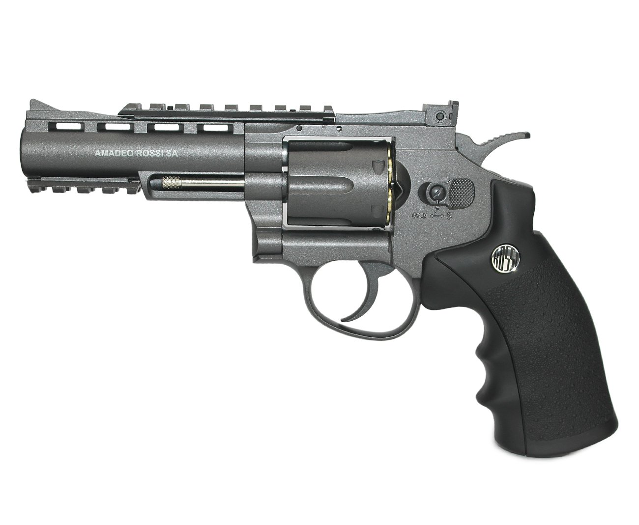 "Revolver 38 De Pressão Gas Co2 6 Tiros 4"" Oxidado Rossi Full Metal M701 4,5mm - Wingun"