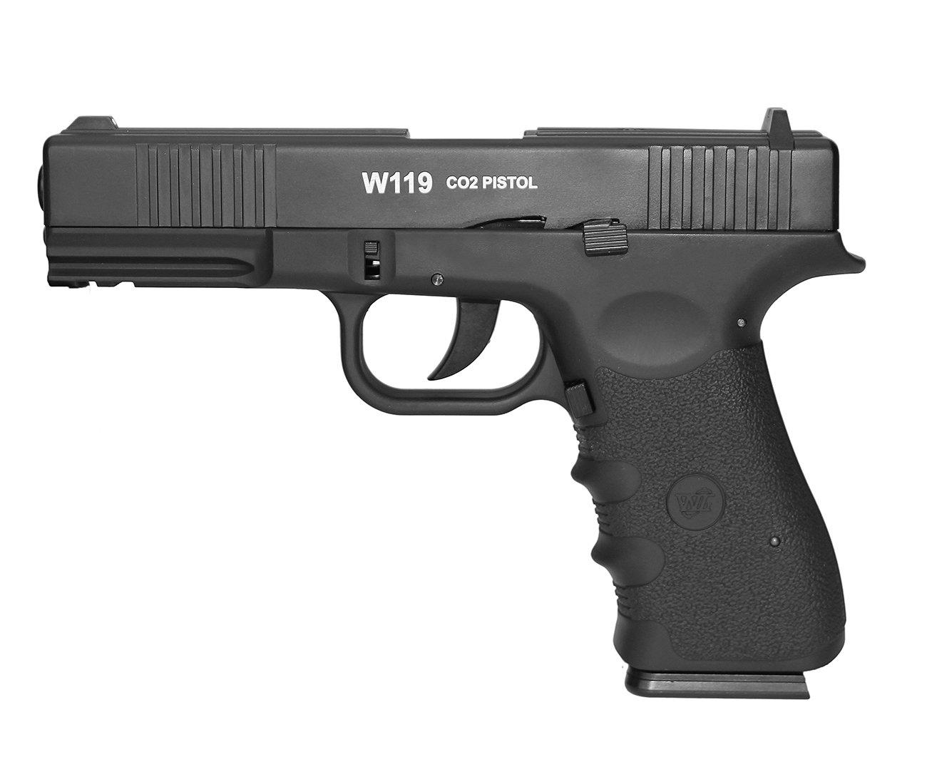 Pistola De Pressão Gas Co2 Wg Glock W119 Slide Metal Blowback 4,5mm