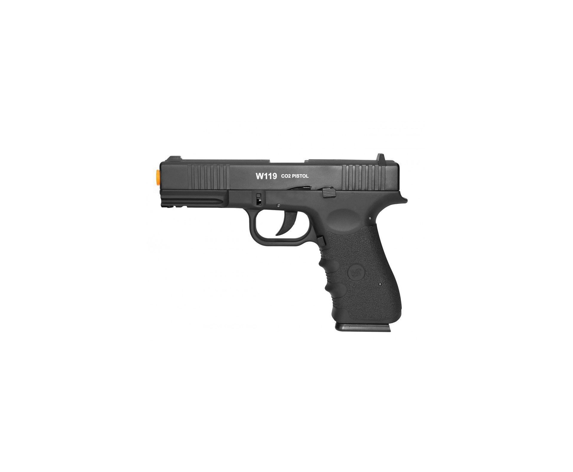 Pistola De Airsoft Gas Co2 Wg Glock W119 Slide Metal Blowback 6.0mm Wingun/rossi