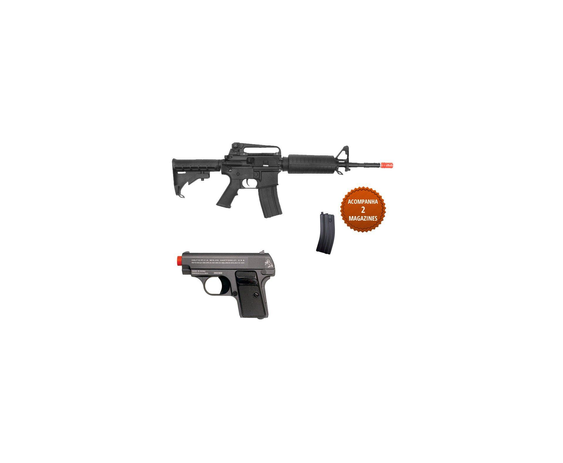 Rifle De Airsoft Colt M4a1 Carbine - Elétrico - Cal 6,0 Mm + Pistola Colt 25