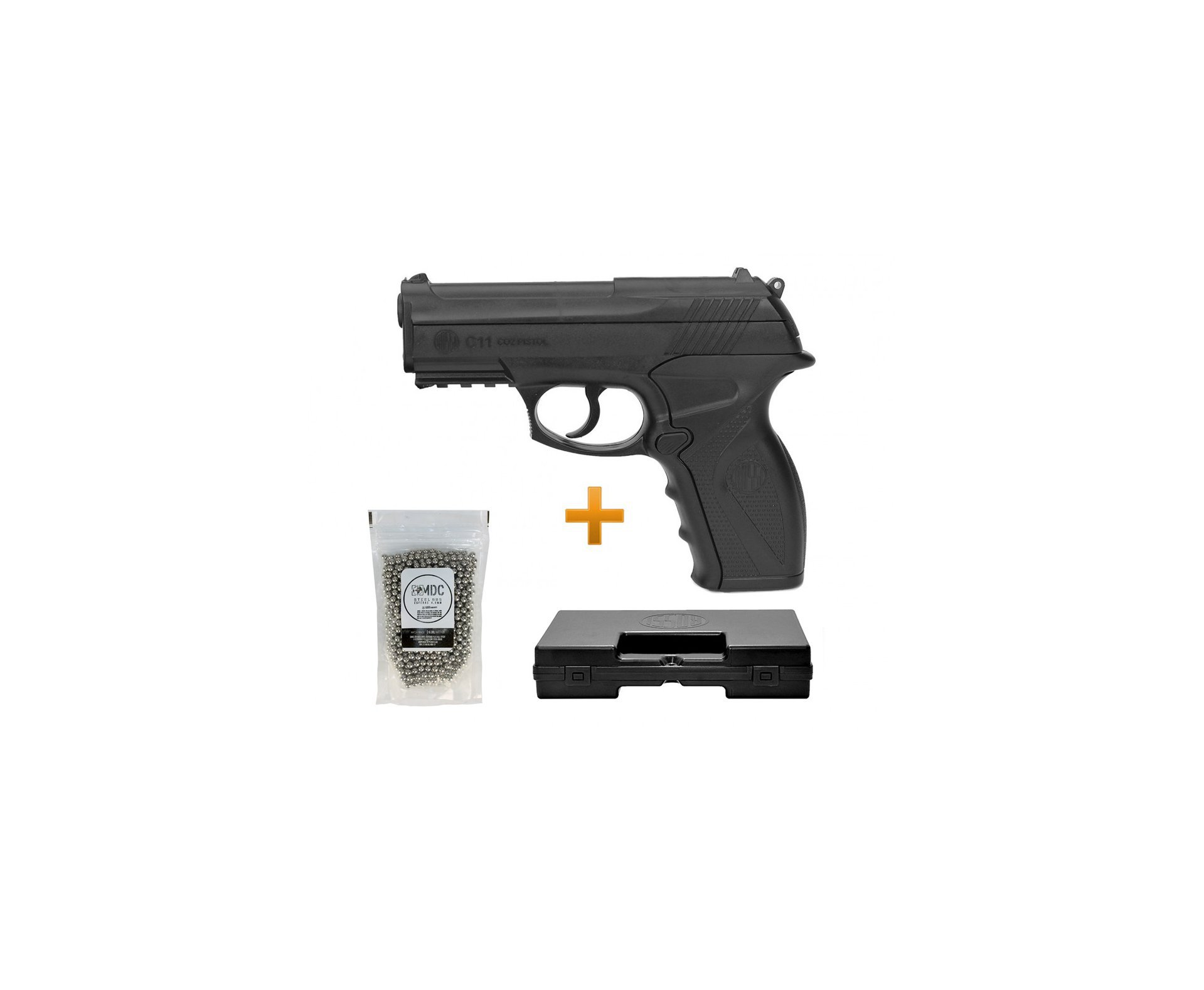 Pistola Pressão Gas Co2 Wg C11 Polímero 4,5 + Esferas Aço De 4,5mm + Case