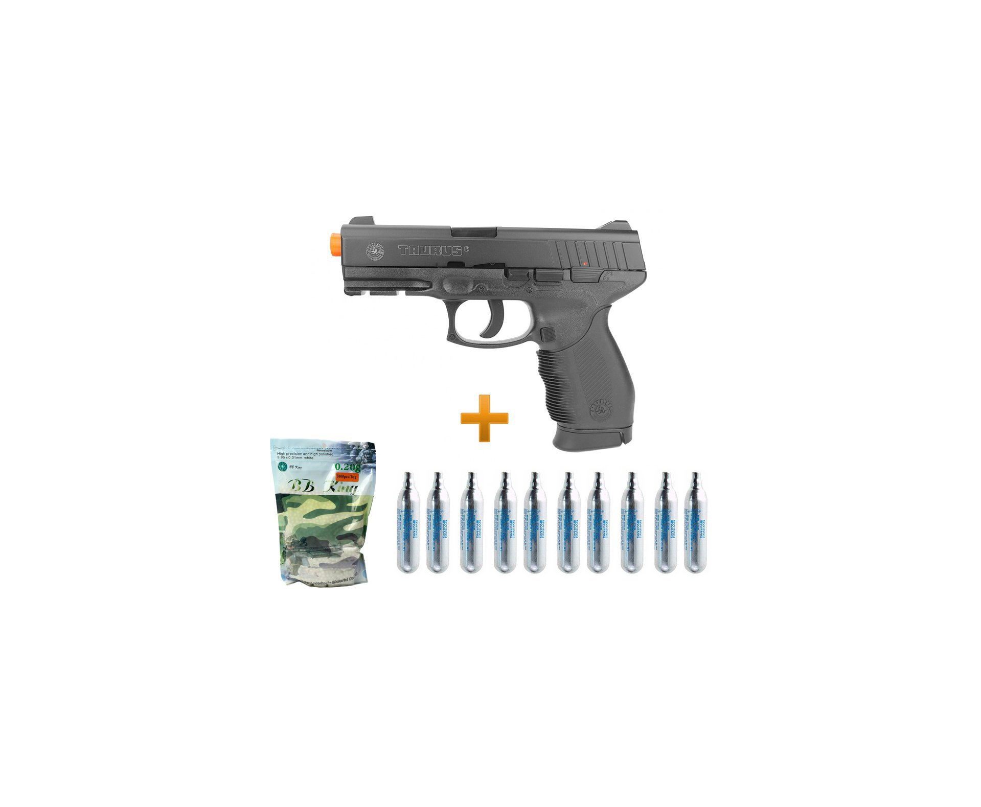 Pistola Airsoft Co2 Taurus 24/7 Polímero 6,0 + 10 Cilindros + 4000 Bbs