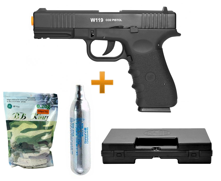 Pistola Airsoft Gas Co2 Wg Glock W119 Slide Metal Blowback 6.0 + 4000bbs + Case + Cilindro Co2
