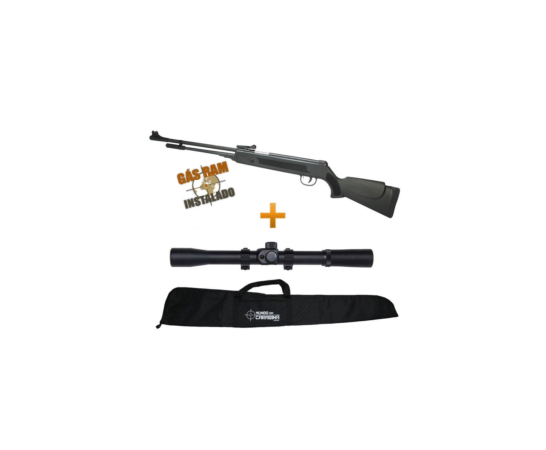 Carabina De Pressão Power Spring Black Cal 5.5mm Fixxar Gás Ram 50kg Instalado + Luneta 4x20 + Capa