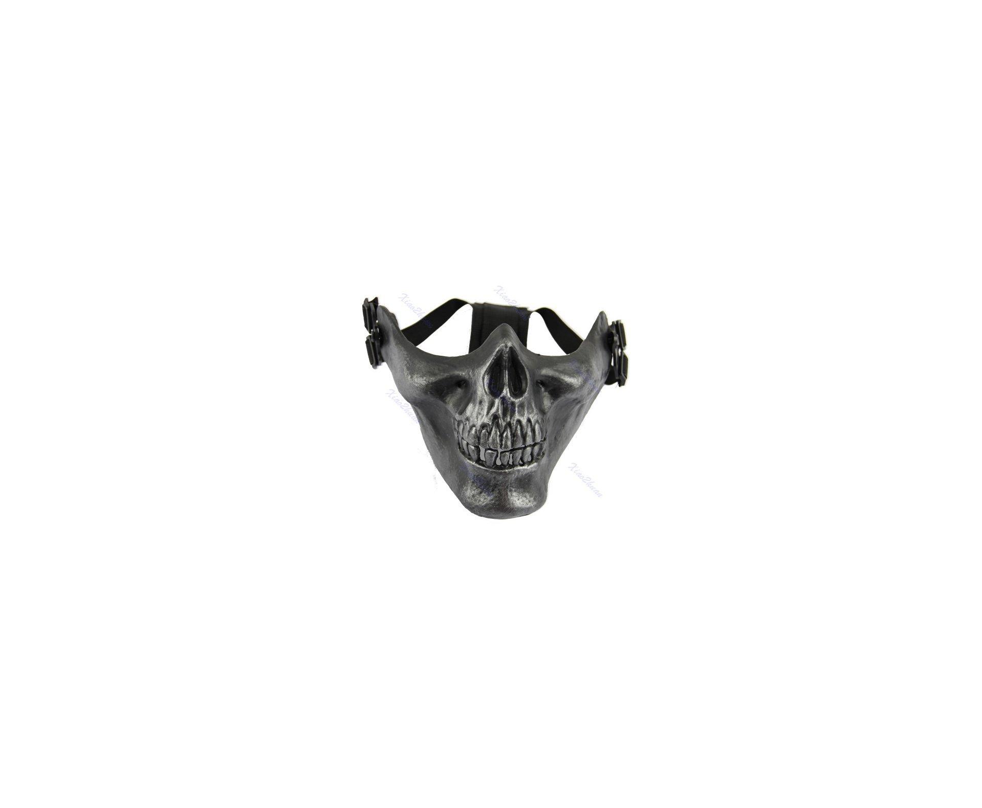 Máscara De Meia Face Para Airsoft - Modelo Esqueleto Black/silver