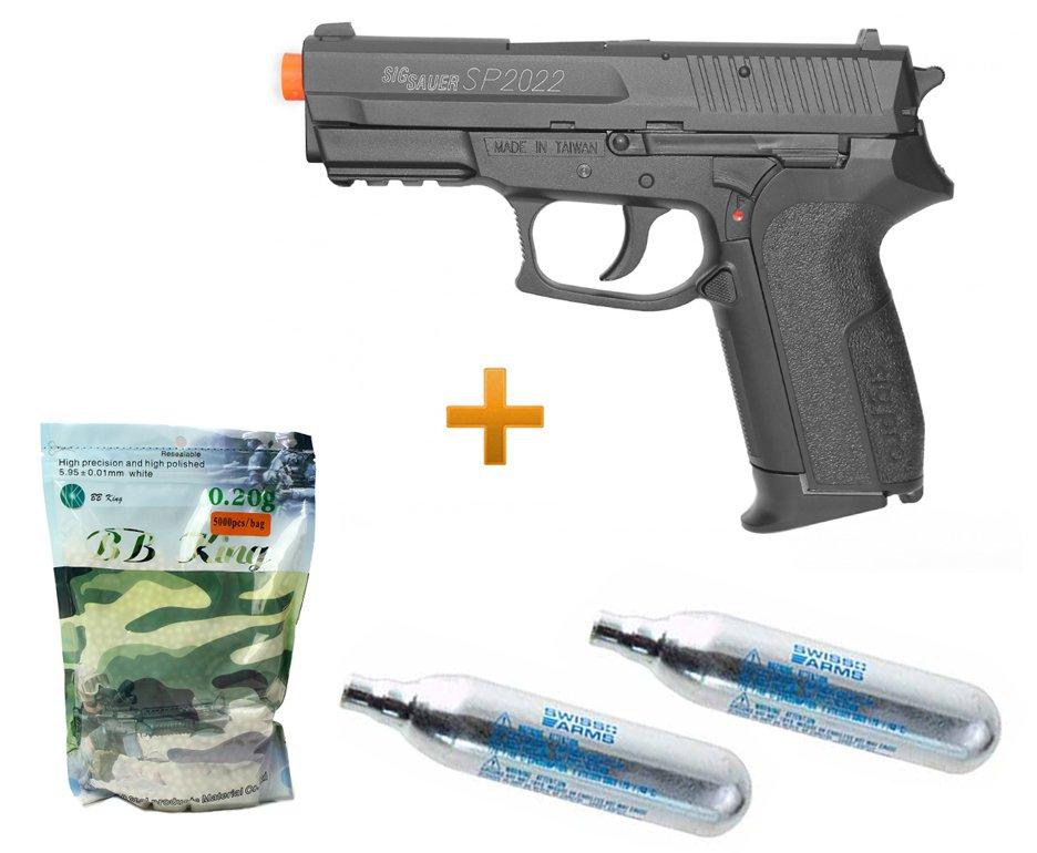 Pistola De Airsoft Gas Co2 Sig Sauer Sp2022 Slide Metal Cal 6.0mm + Esferas + 02 Capsula Co2