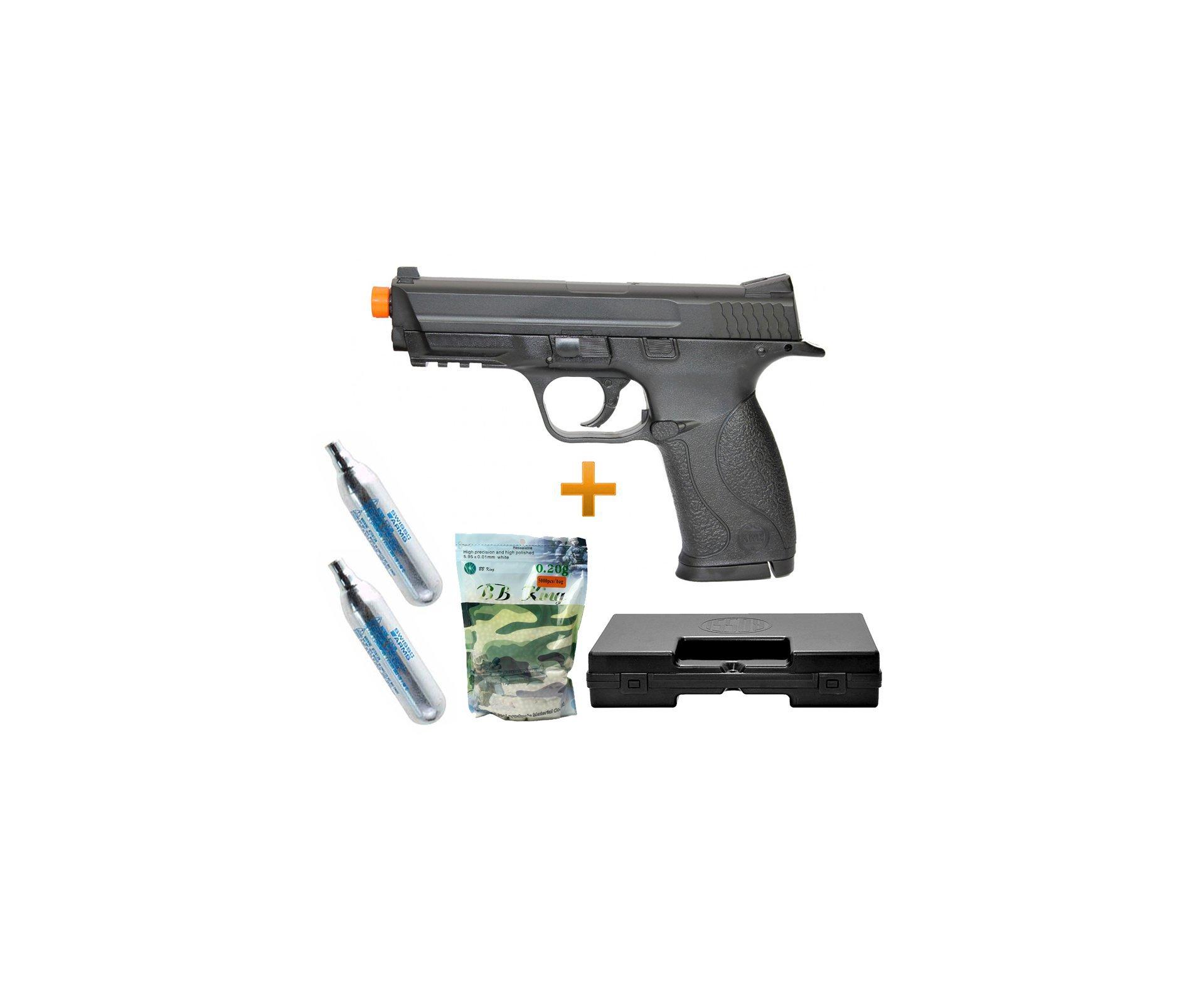 Pistola De Airsoft Gas Co2 S&w Mp40 Slide Metal Cal 6.0mm Kwc + Case + Bbs + 02 Co2