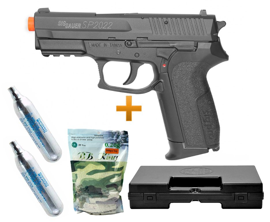 Pistola Airsoft Gas Co2 Sig Sauer Sp2022 Slide Metal Cal 6.0mm + Case + Bbs + 2 Cilindro Co2