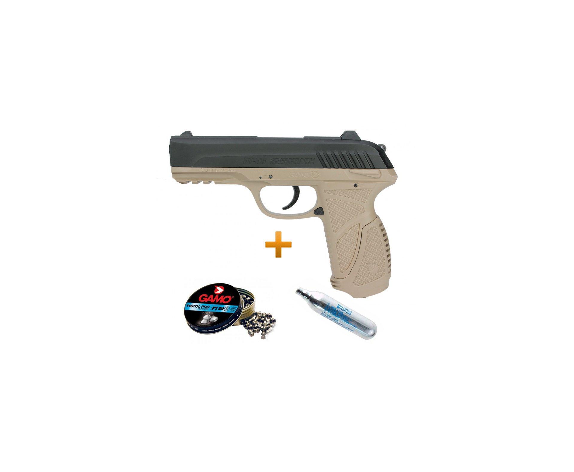 Pistola Pressão Gamo Gás Co2 Pt-85 Blowback Slide Metal Desert 4.5mm + Chumbinho + Cilindro Co2