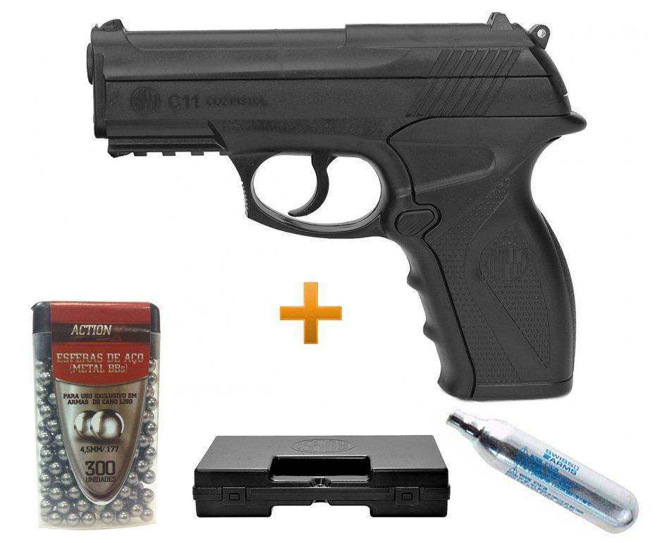 Pistola De Pressão Gas Co2 Wg C11 Polímero Esferas Aço 4,5mm + Case + Esferas + Co2