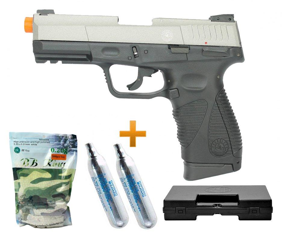 Pistola Airsoft Co2 Taurus Pt 24/7 G2 Blowback Slide Metal Silver 6.0 + Case + Bbs + Co2
