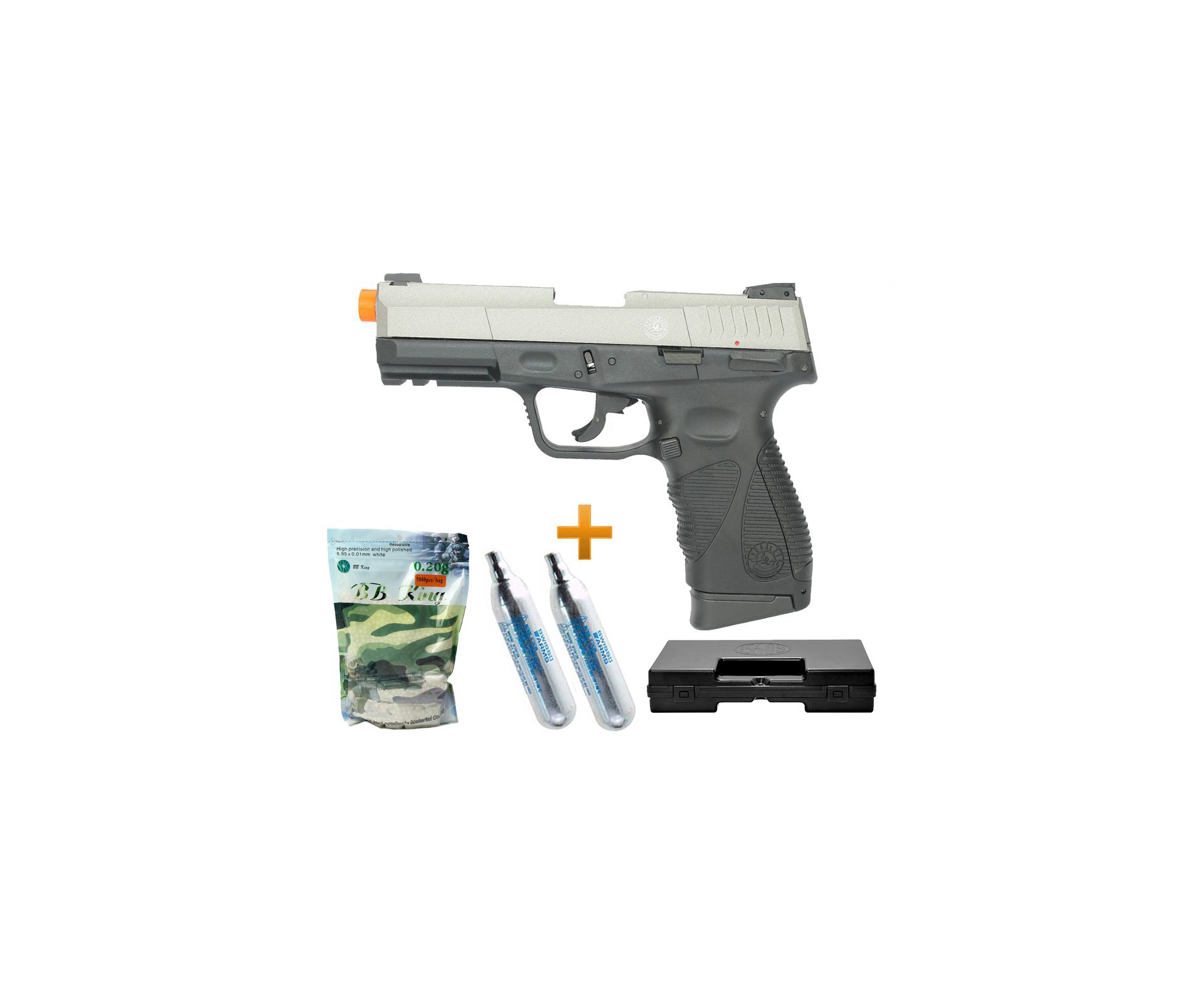 Pistola Airsoft Co2 Taurus Pt 24/7 G2 Blowback Slide Metal Silver 6.0 + Case + Bbs + Co2