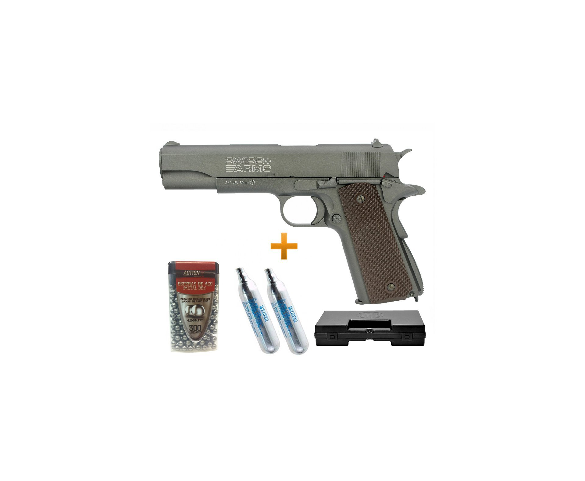 Pistola De Pressão Co2 Sa P1911 Full Metal Blowblack 4.5mm Swiss Arms + Case + Esfera  De Aço + Co2