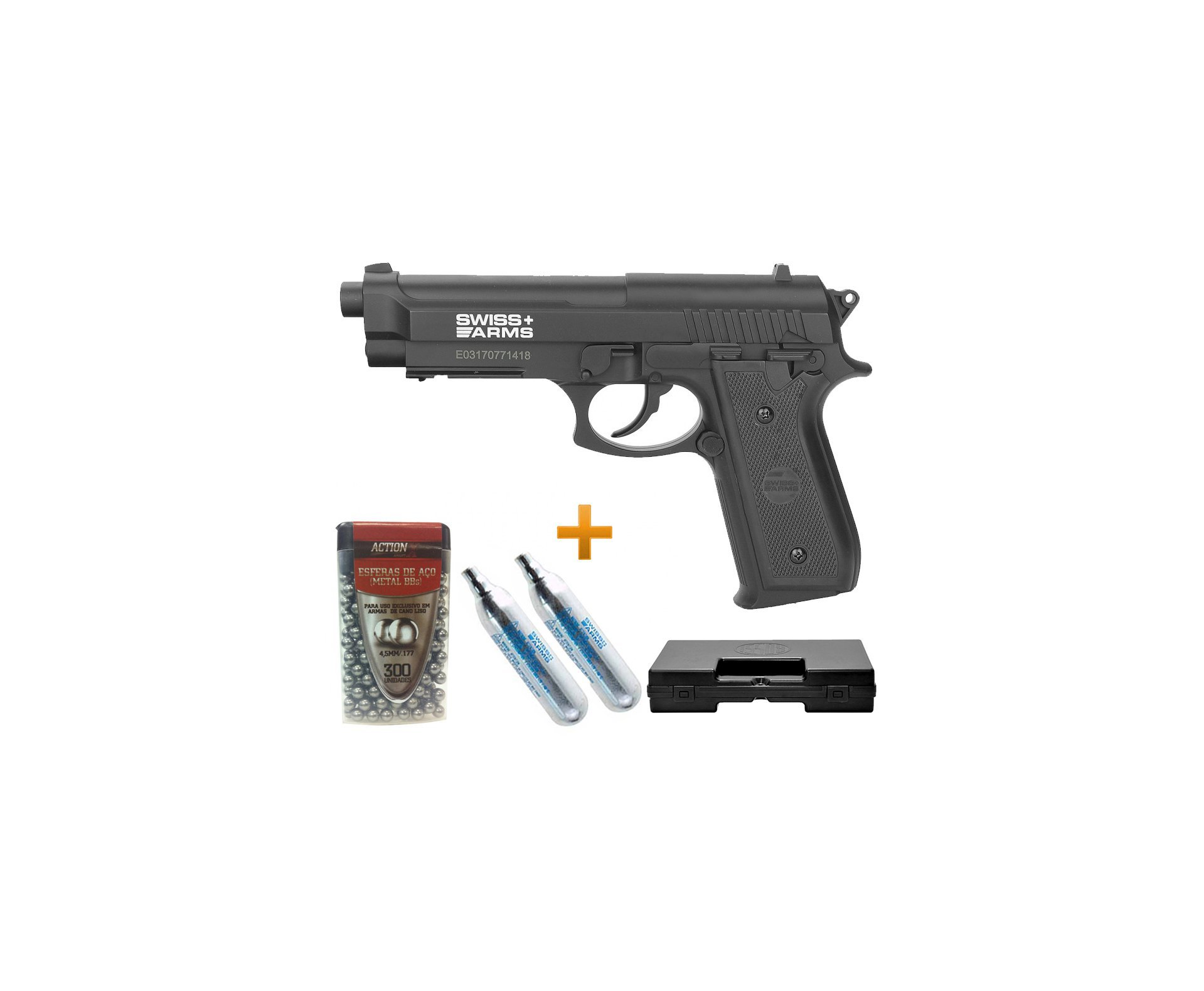 Pistola De Pressão Gas Co2 Sa P92 4.5mm Swiss Arms + Case + Bbs + Co2