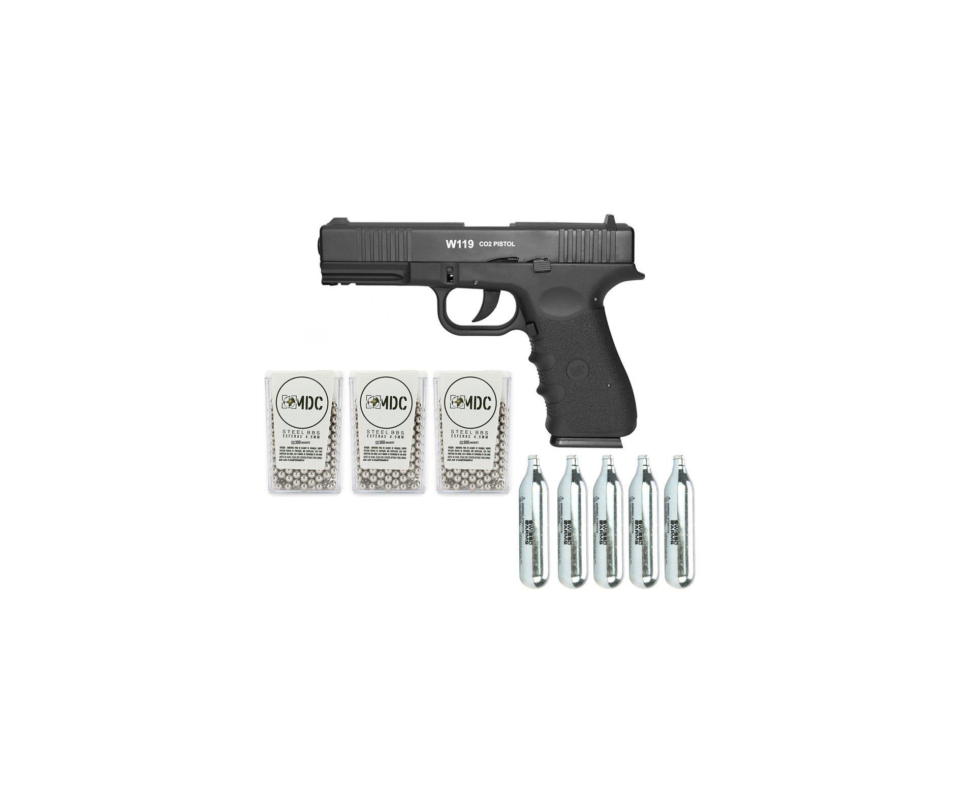 Pistola De Pressão Gas Co2 Wg Glock W119 Slide Metal Blowback 4,5mm + 05 Cilindro Co2 + 900 Esferas Aço