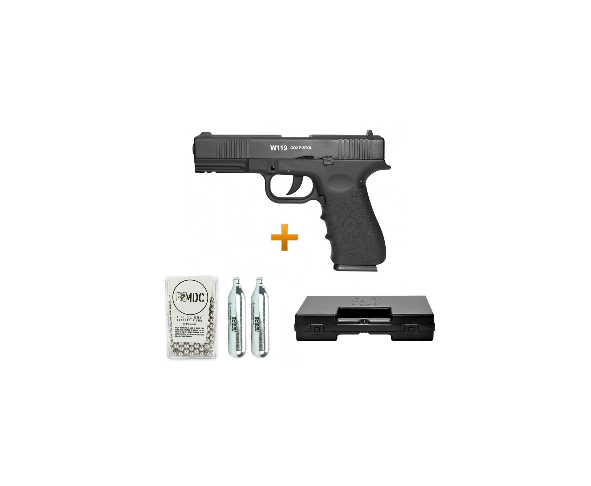 Pistola De Pressão Gas Co2 Wg Glock W119 Slide Metal Blowback 4,5mm + Case + Bbs + Co2