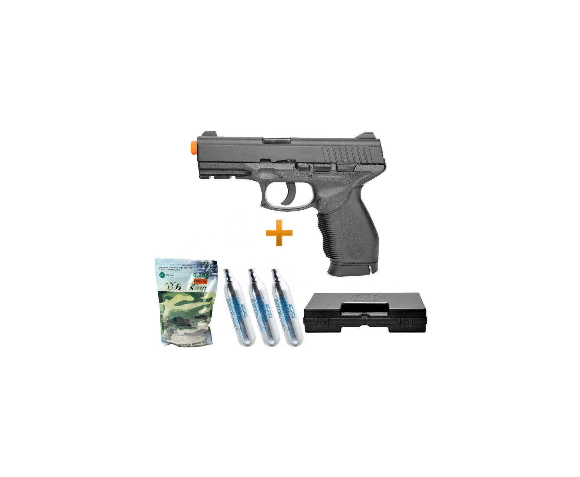 Pistola De Airsoft Gas Co2 Pt 24/7 Slide Metal Cal 6.0mm Kwc + Case + Bbs + Co2
