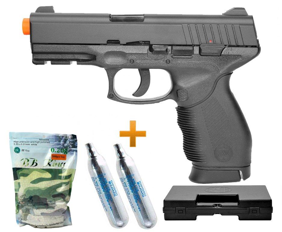 Pistola De Airsoft Gas Co2 Pt 24/7 Cal 6.0mm Kwc + Case + Bbs + Co2