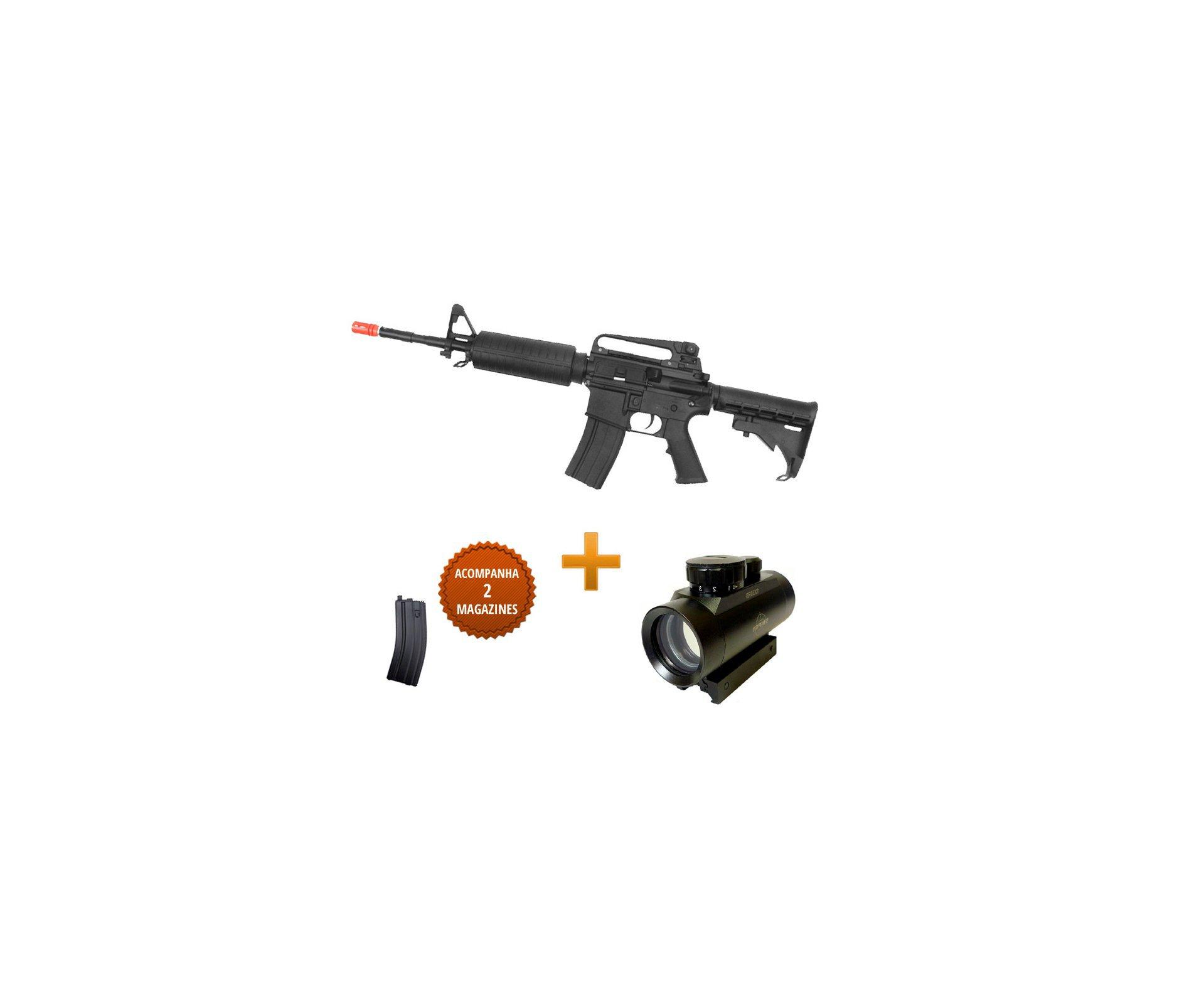 Rifle De Airsoft Colt M4a1 Carbine - Elétrico - Cal 6,0 Mm (cyber Gun) + Red Dot 1x30eg 22mm