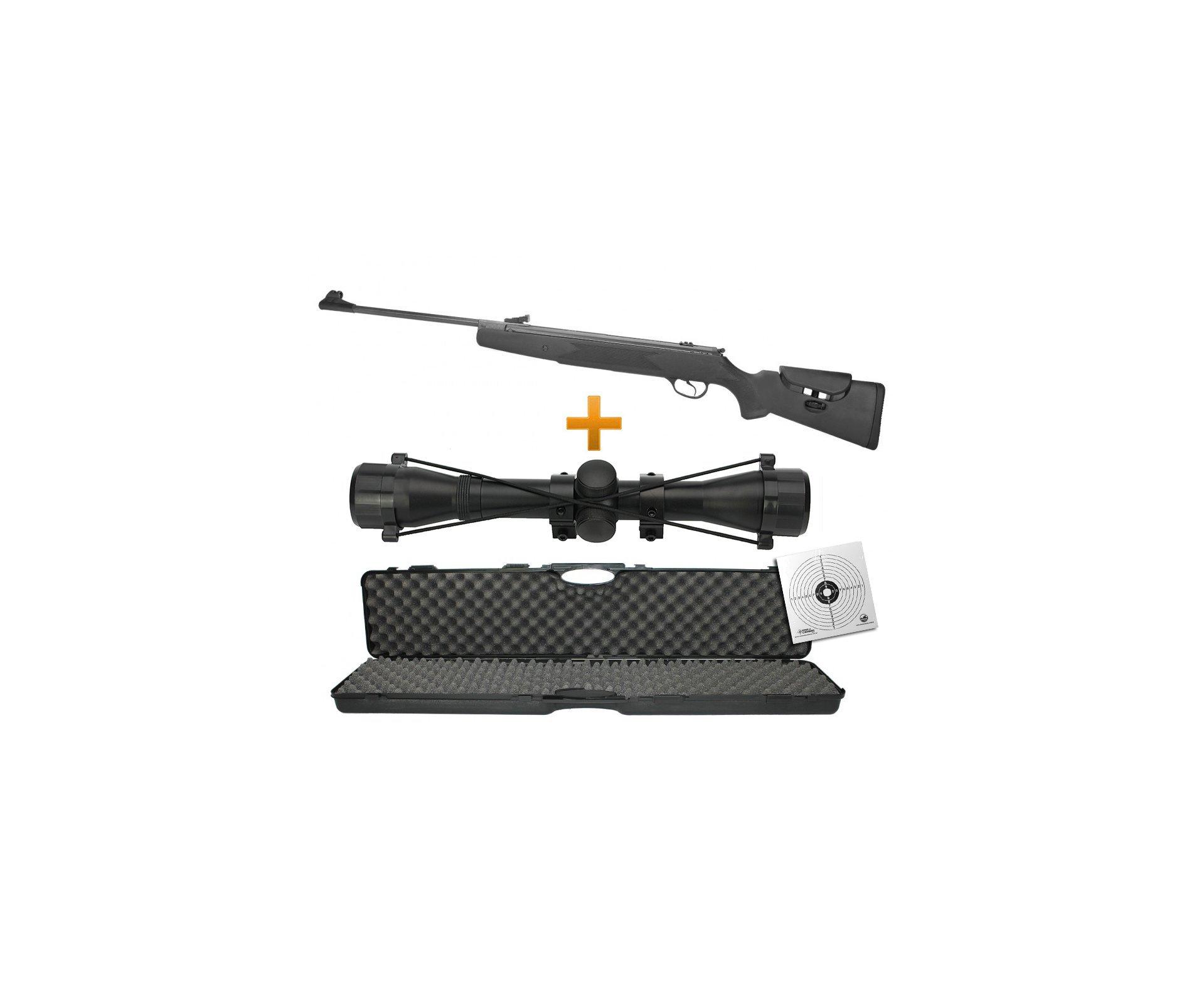 Carabina De Pressão Hatsan Ht87 Sas Combo Especial - Cal 5,5mm + Pistão Pneumático + Luneta 4x32 + Chumbinho + Case + Alvo