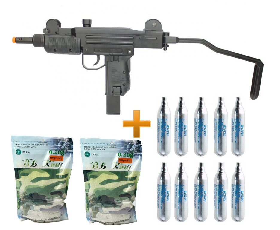 Rifle De Airsoft Co2 Sub-metralhadora Mini Uzi Full Metal Blowback 6.0mm Kwc + Bbs + Co2