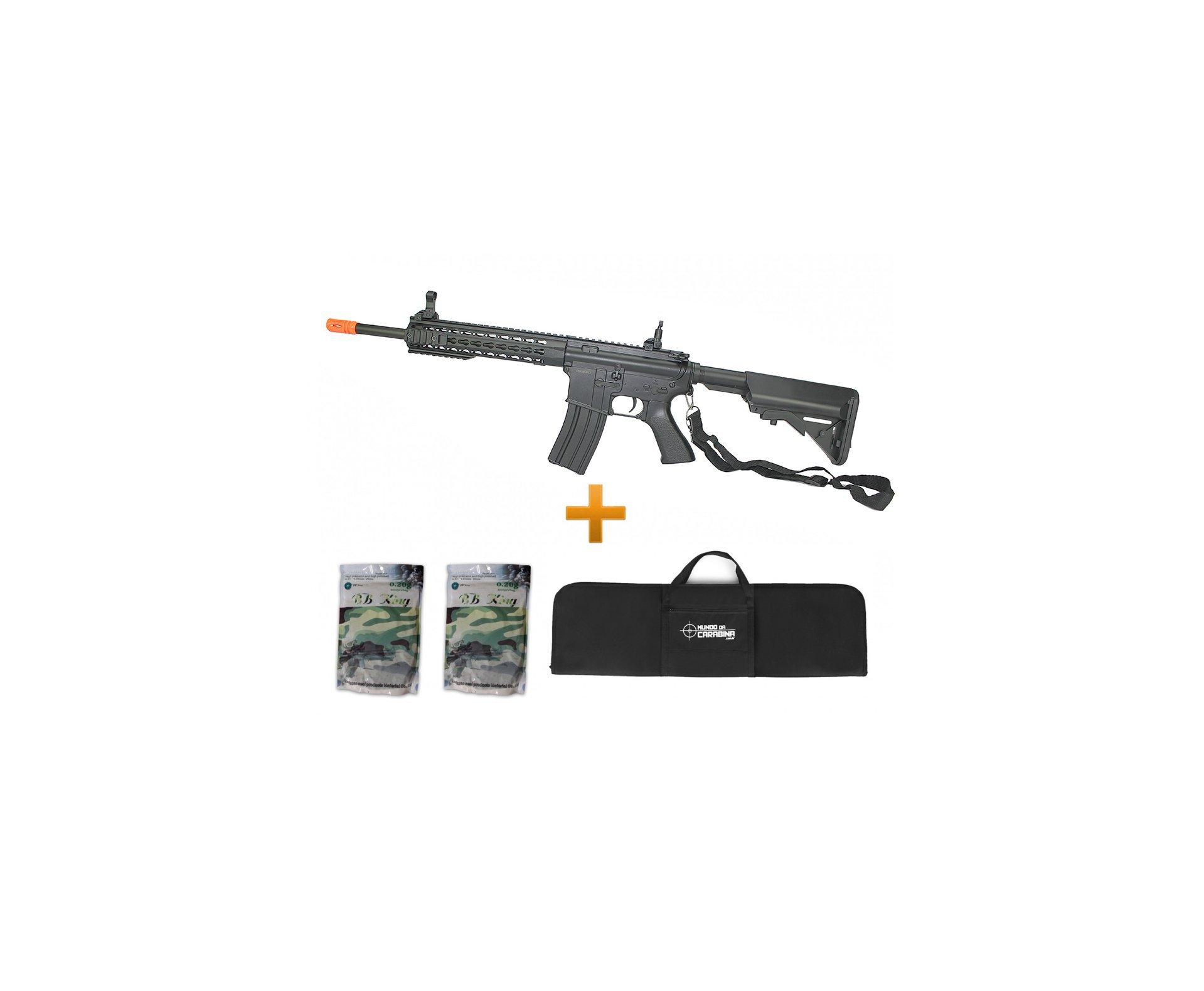 Rifle De Airsoft M4a1 Ris Black Cal 6mm - Bivolt - Cm515 - Cyma + Capa + 8000 Bbs