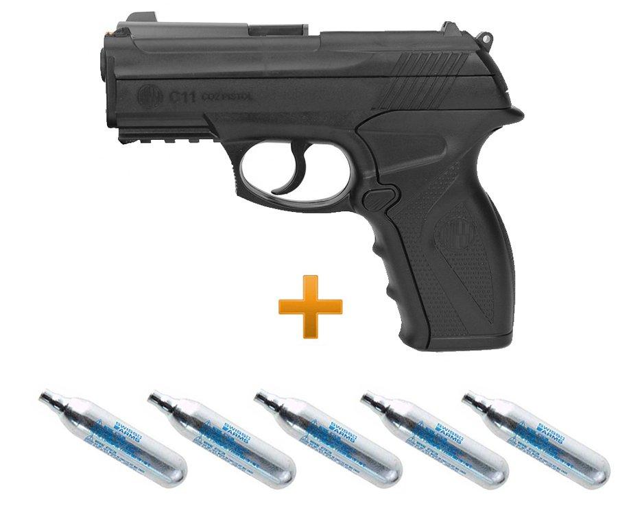 Pistola De Pressão Gas Co2 Wg C11 4,5mm , 05 Capsula Co2