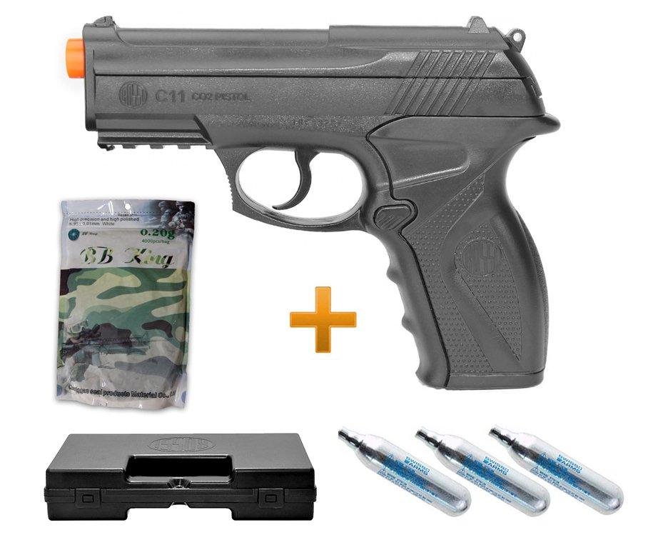 Pistola De Airsoft Gas Co2 Wg C11 6,0mm Win Gun, Maleta Deluxe, 4000bbs, 03 Co2