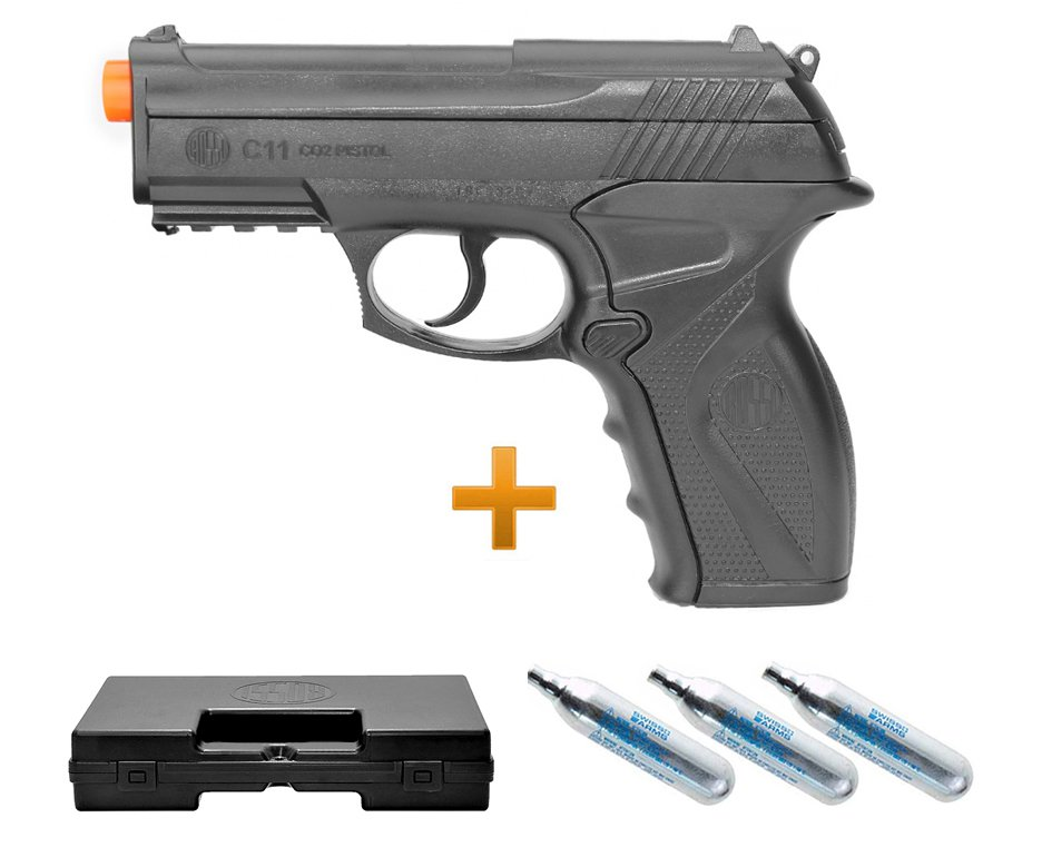 Pistola De Airsoft Gas Co2 Wg C11 6,0mm Wingun, Maleta, 03 Co2