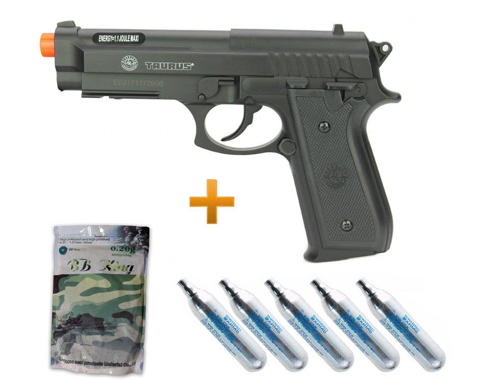 Pistola De Airsoft Co2 Taurus Pt92 6mm Cybergun + 05 Co2 + 4000bbs 0,20g
